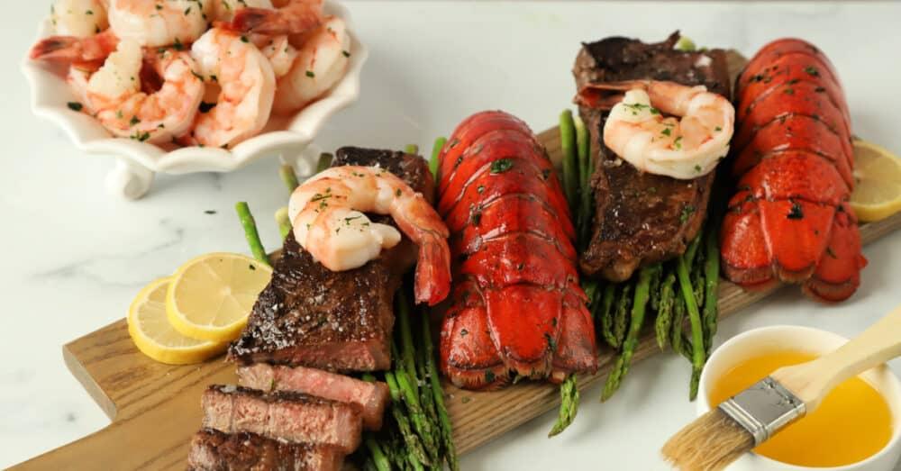 Lobster Tails Shrimp Steak Dinner