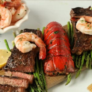 Lobster Tails Shrimp Steak Dinner