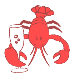 Lobster celebrating with a glass of champagne